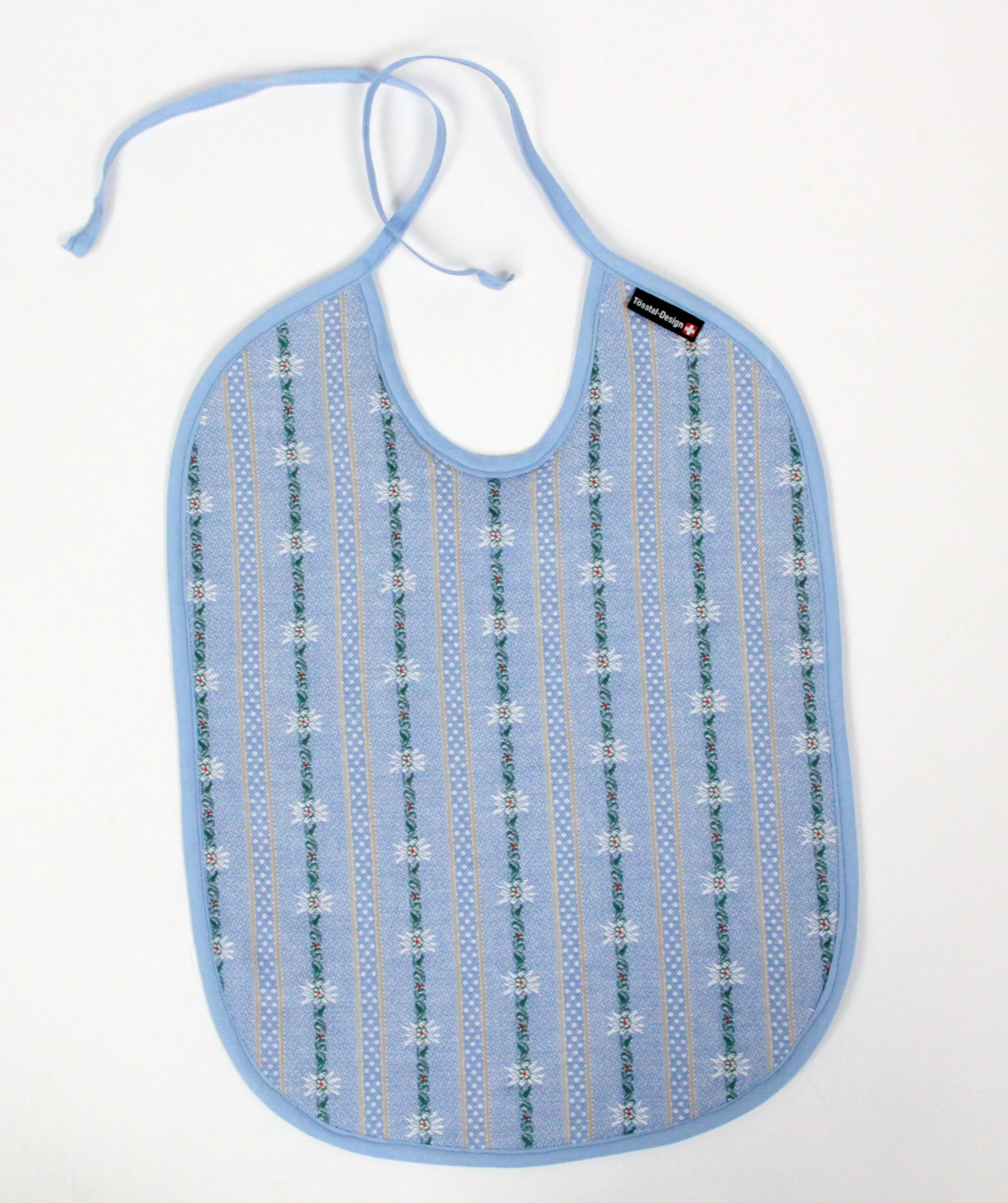 Baby Esslatz hellblau aus Edelweiss Stoff, Tösstal-Design