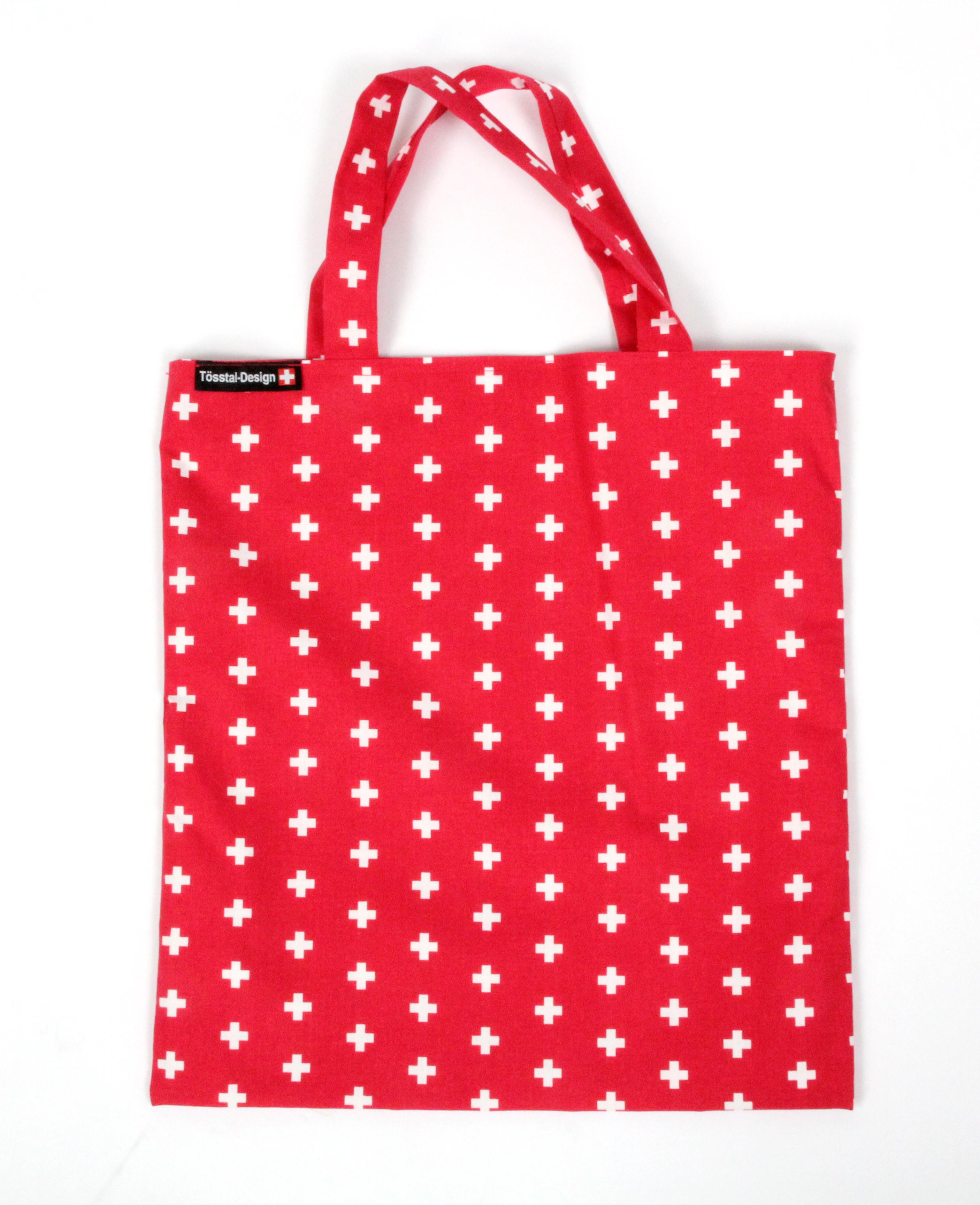 Einkaufstasche rot mit CH Kreuz