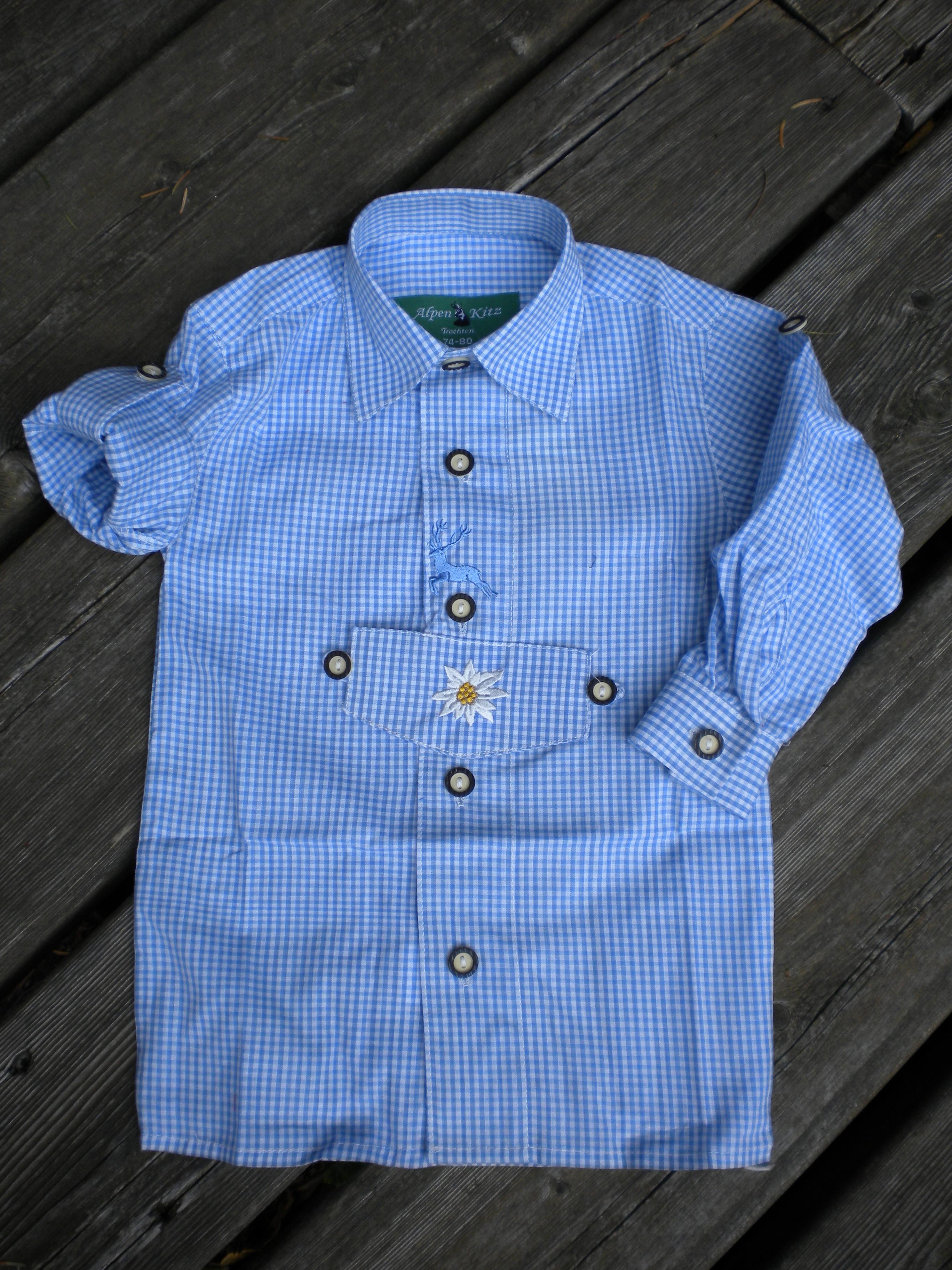 Landmode Hemd kariert, blau/weiss, Kind