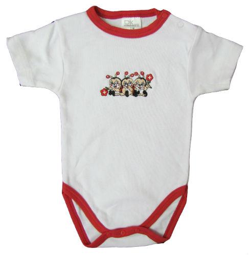 Baby Body weiss mit Marienkäfer, Kurzarm