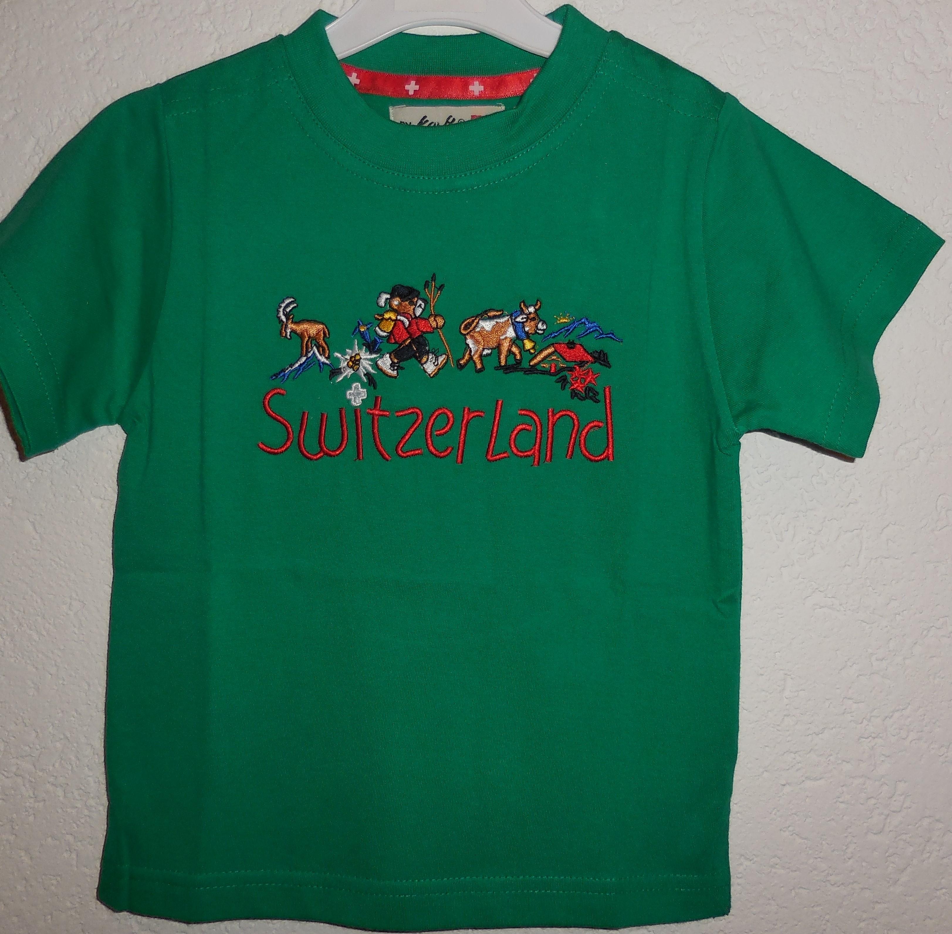 Shirt grün mit Alp Motiv Stickerei, Switzerland