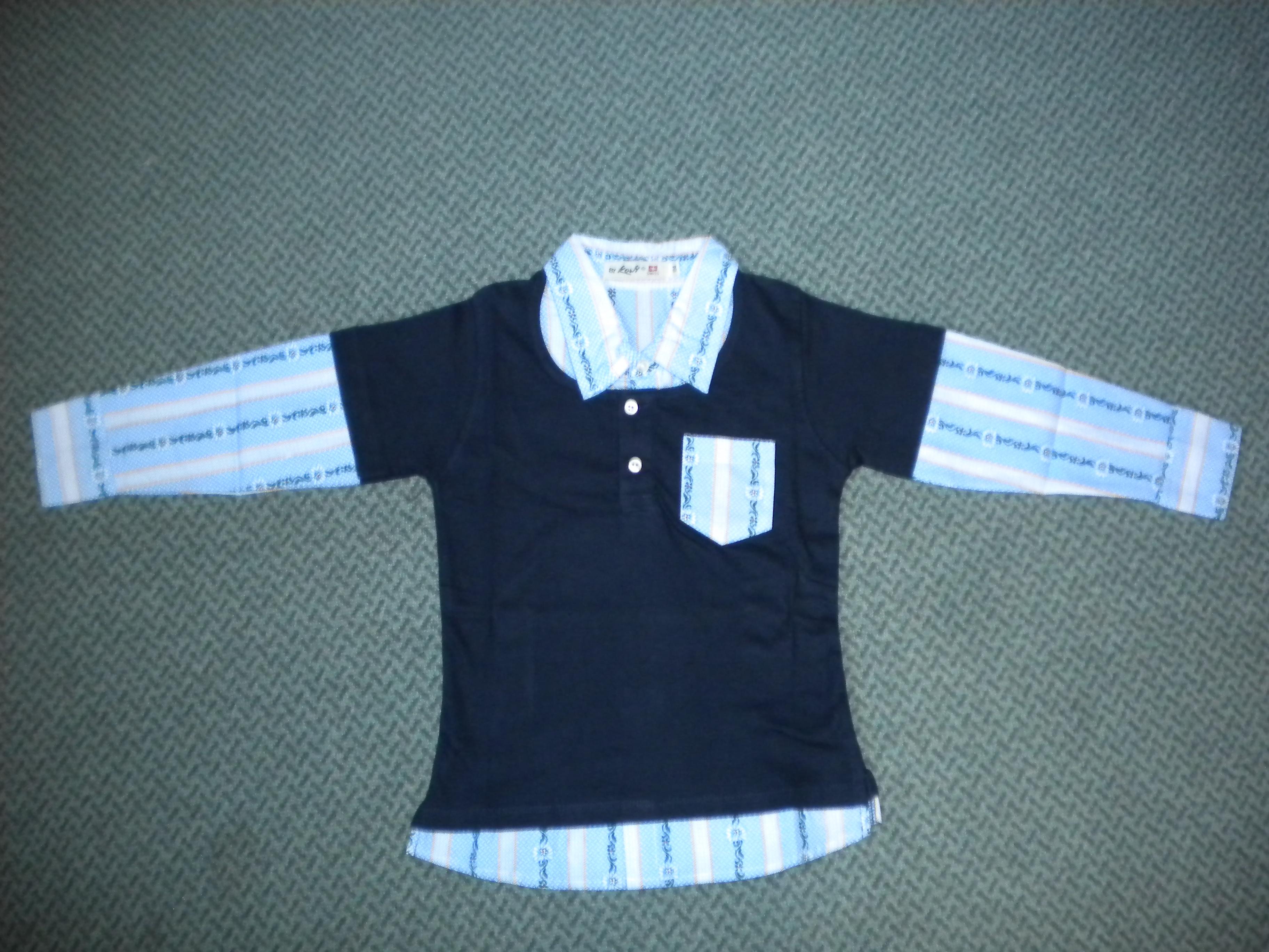 Polo Shirt dunkelblau mit Edelweiss Kragen