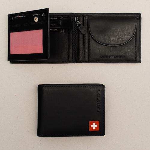 Portemonnaie schwarz mit CH Kreuz, 9,5x8,5cm