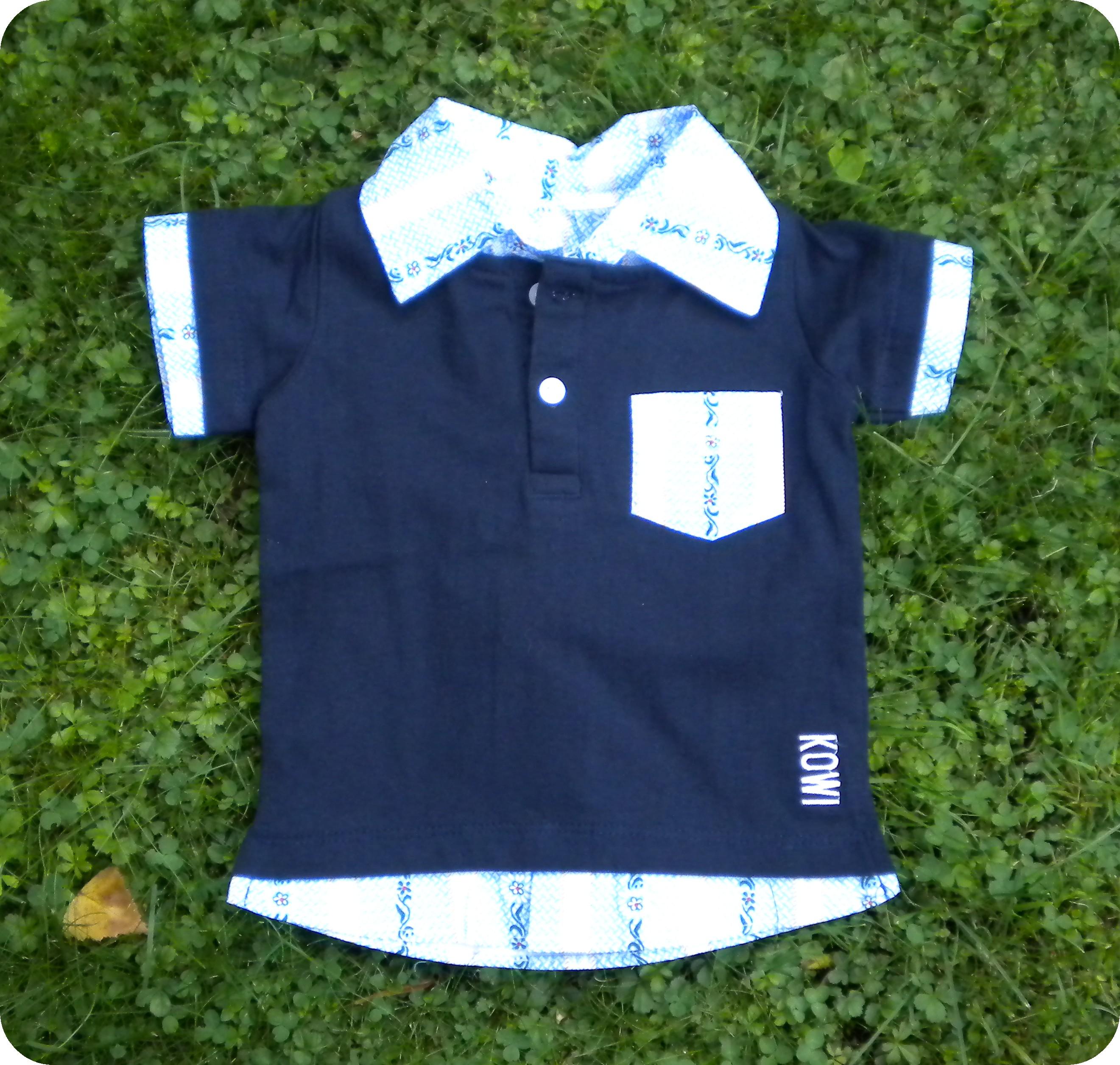 Polo Shirt blau mit Edelweiss Kragen